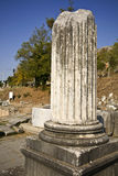 Ancient Greek pillar remains. Remains of an ancient Greek pillar on Fillipous area archaeological site in North Greece Stock Photo