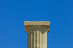 Ancient greek pillars at top of Lindos Acropolis Stock Photo