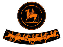 Ancient Greek plate with rider and boys riding horses from an an. Terracotta plate with  rider and ancient greek vase  with  boys riding horses, isolated on Royalty Free Stock Photos
