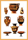 Ancient Greek pottery with ocher and black decorations. Collection of ancien Greek vases with bright colors and mithological scenes Royalty Free Stock Photos
