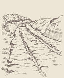 Ancient Greek Railways. Preceded track, diolkos near Corinth in Ancient Greece. Ancient landmark. The road 6 km long, with deep grooves. They placed a wooden royalty free illustration