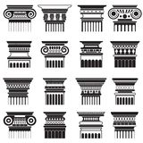 Vector ancient greek roma column capitals silhouette set. stock illustration