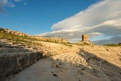 Greek Roman Theater in Syracuse - Sicily Italy. Ancient Greek Roman theater at sunset in Syracuse city Siracusa, Sicily island, Italy, Europe V century BC Stock Photos