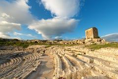 Greek Roman Theater in Syracuse - Sicily Italy. Ancient Greek Roman theater at sunset in Syracuse city Siracusa, Sicily island, Italy, Europe V century BC Stock Photography