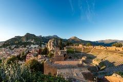 Greek Roman Theater in Taormina - Sicily Italy. Ancient Greek Roman theater at sunset in Taormina town, Messina, Sicily island, Italy II century AD Royalty Free Stock Image
