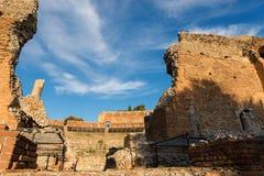 Greek Roman Theater in Taormina - Sicily Italy. Ancient Greek Roman theater at sunset in Taormina town, Messina, Sicily island, Italy II century AD Royalty Free Stock Images