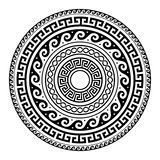 Ancient Greek round key pattern - meander art, mandala black shape. Vector design inspired by art from ancient Greece on white background Royalty Free Stock Images