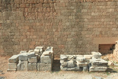 Ancient greek ruins with ancient wall Royalty Free Stock Photos