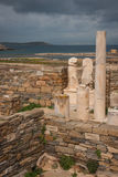 Ancient Greek ruins at the archaeological island of Delos Royalty Free Stock Image