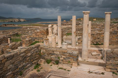 Ancient Greek ruins at the archaeological island of Delos Royalty Free Stock Photos