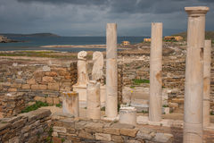 Ancient Greek ruins at the archaeological island of Delos Stock Photos