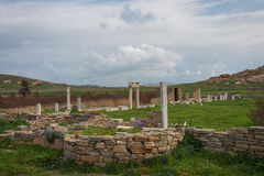Ancient Greek ruins at the archaeological island of Delos Royalty Free Stock Photo