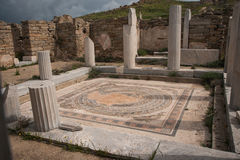 Ancient Greek ruins at the archaeological island of Delos Stock Photo