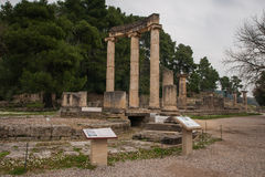 Ancient Greek ruins at the archaeological place of Ancient Olimp Stock Images