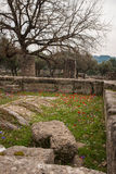 Ancient Greek ruins at the archaeological place of Ancient Olimp Stock Photography