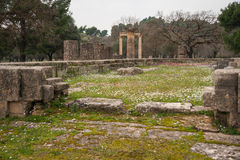 Ancient Greek ruins at the archaeological place of Ancient Olimp Stock Image