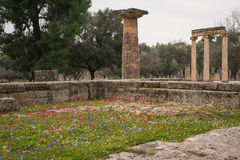 Ancient Greek ruins at the archaeological place of Ancient Olimp Royalty Free Stock Images