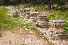 Ancient Greek ruins at the archaeological place of Ancient Olimp Stock Photo