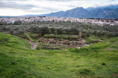 Ancient Greek ruins at the archaeological place at Sparta,  Gree Stock Photo
