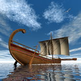 Ancient greek sailboat - 3D render Royalty Free Stock Images
