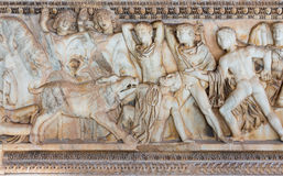 Ancient Greek sarcophagus with a relief about the hunt of the Calydonian boar Stock Photography
