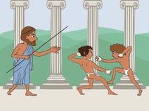 Ancient greek school cartoon. Ancient greek school, cartoon illustration of two boxing boy and teacher, education origins vector illustration
