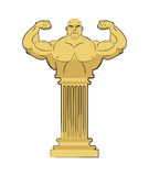 Ancient Greek sculpture of athlete. Body Strong man on column. stock illustration