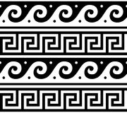 Ancient Greek seamless pattern - tradional waves and key pattern form Greece. Vector repetitive design - Greek vase patterns in black isolated on white stock illustration