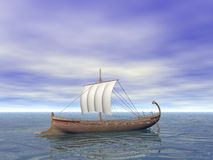 Ancient Greek Ship. An Ancient Greek ship on the sea Stock Photo