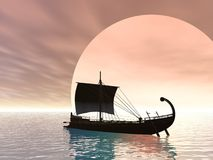 Ancient Greek Ship. An Ancient Greek ship on the sea Stock Image