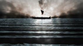 Ancient Greek Ship in Mist Loop. Background Loop Full HD Resolution stock video