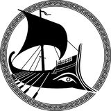 Ancient Greek ship. Vector illustration of a logo design of an ancient Greek ship Stock Photography