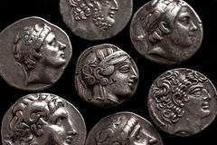 Ancient greek silver coins top view Royalty Free Stock Photo