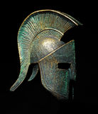 Ancient Greek Sparta Style Helmet Black Background Stock Image