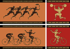 Ancient  greek sport. Stylization of figure of the Ancient Greece. Figure on ceramics. Athletes run. Bicyclists go. The athlete pushes a shell Royalty Free Stock Photo