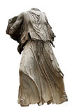 Ancient greek statue from the Parthenon. Greek headless female figure sculpted in white marble with clipping path Stock Image
