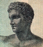 Ancient Greek Teenager. On one million drachmai 1944 banknote from Greece stock photography