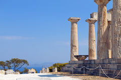 Ancient Greek temple at Aegina, Greece. Classical ancient temple of Aphaea Athina at Aegina island in Greece Royalty Free Stock Photography