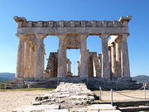 Ancient greek temple of afaia. This is the front view os the greek ancient temple of afaia in greece Royalty Free Stock Photos