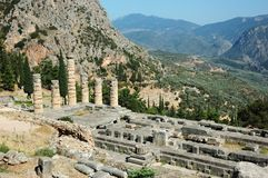 Ancient greek temple of Apollo,Delphi,Greece. Unesco heritage site Royalty Free Stock Photo