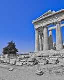 Ancient Greek temple, in black, white and blue Stock Photography