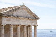 Ancient Greek temple at Corfu Royalty Free Stock Photography