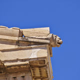 Ancient Greek temple detail, lion's head Royalty Free Stock Images