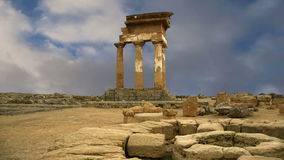 Ancient Greek Temple of the Dioscuri (V-VI century BC), Valley of the Temples, Agrigento, Sicily stock footage