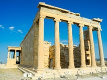 Ancient Greek Temple of the Erechtheum. Ancient Greek Temple of the Erechtheum on Acropolis at sunset Stock Image