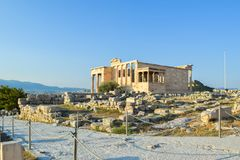 Ancient Greek Temple of the Erechtheum. Ancient Greek Temple of the Erechtheum on Acropolis at sunset Royalty Free Stock Photos