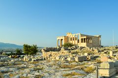 Ancient Greek Temple of the Erechtheum. Ancient Greek Temple of the Erechtheum on Acropolis at sunset Stock Photos