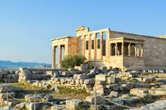 Ancient Greek Temple of the Erechtheum. Ancient Greek Temple of the Erechtheum on Acropolis at sunset Stock Photography