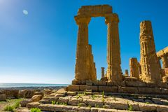 Ancient greek Temple of Juno, Agrigento, Sicily. Italy stock images
