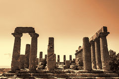 Ancient Greek Temple of Juno God, Agrigento, Sicily, Italy Royalty Free Stock Photos